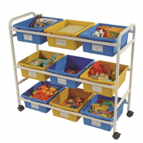 Classroom Storage Trolley with 9 Divided Tubs